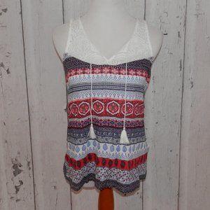Lucky Brand Small Paisley Crochet Tank Top Shirt